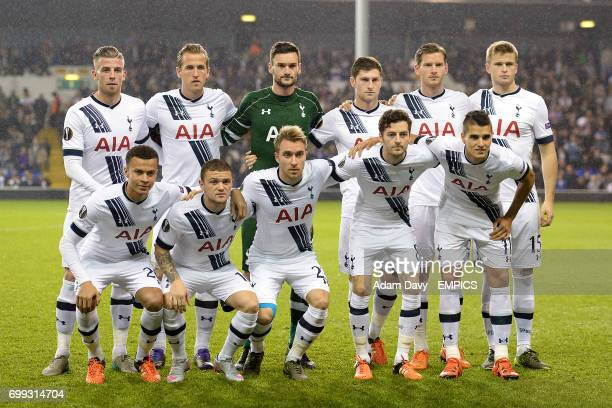 A Tottenham Hotspur team group photo Top Row Toby Alderweireld Harry Kane Hugo Lloris Jan Vertonghen Ben Davies and Eric Dier Front Row Dele Alli...