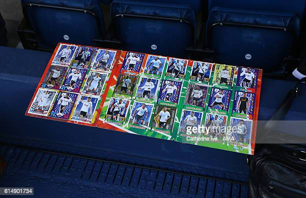 Tottenham Hotspur Topps trading card collection during the Premier League match between West Bromwich Albion and Tottenham Hotspur at The Hawthorns...