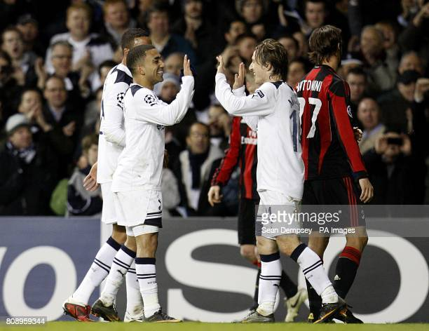 Tottenham Hotspur's Aaron Lennon and Luka Modric celebrate winning the tie after the final whistle