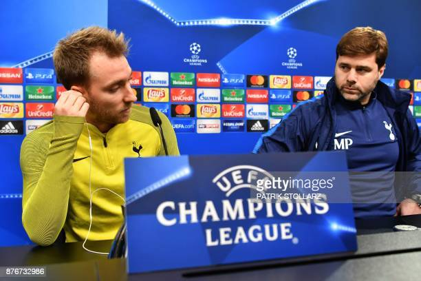 Tottenham Hotspur's Argentinian head coach Mauricio Pochettino and Danish midfielder Christian Eriksen attend a press conference on the eve of the...