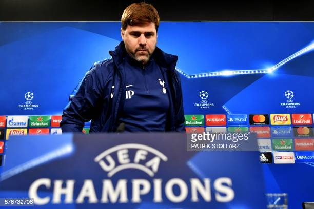 Tottenham Hotspur's Argentinian head coach Mauricio Pochettino arrives for a press conference on the eve of the UEFA Champions League Group H...