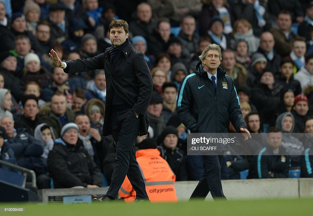 Tottenham Hotspur's Argentinian head coach Mauricio Pochettino (L) Manchester City's Chilean manager Manuel Pellegrini watch their players during the English Premier League football match between Manchester City and Tottenham Hotspur at the Etihad Stadium in Manchester, north west England, on February 14, 2016. / AFP / OLI SCARFF / RESTRICTED TO EDITORIAL USE. No use with unauthorized audio, video, data, fixture lists, club/league logos or 'live' services. Online in-match use limited to 75 images, no video emulation. No use in betting, games or single club/league/player publications. /