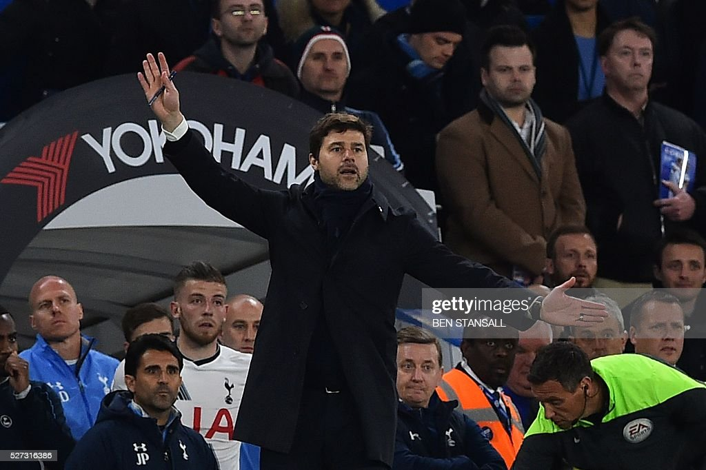 Tottenham Hotspur's Argentinian head coach Mauricio Pochettino gives instructions from the touchline during the English Premier League football match between Chelsea and Tottenham Hotspur at Stamford Bridge in London on May 2, 2016. / AFP / BEN STANSALL / RESTRICTED TO EDITORIAL USE. No use with unauthorized audio, video, data, fixture lists, club/league logos or 'live' services. Online in-match use limited to 75 images, no video emulation. No use in betting, games or single club/league/player publications. /