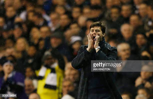 Tottenham Hotspur's Argentinian Head Coach Mauricio Pochettino shouts at his players during the UEFA Europa League group J football match between...