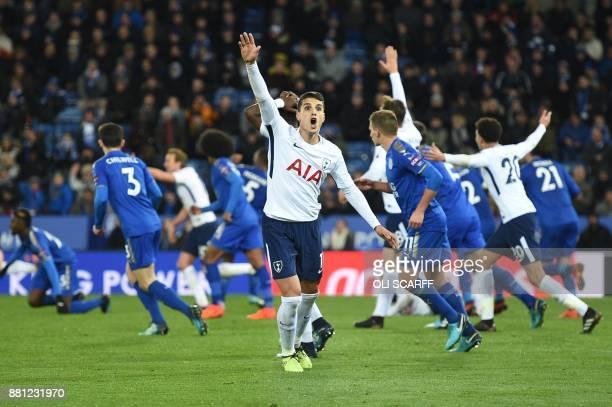 Tottenham Hotspur's Argentinian midfielder Erik Lamela calls for a penalty during the English Premier League football match between Leicester City...