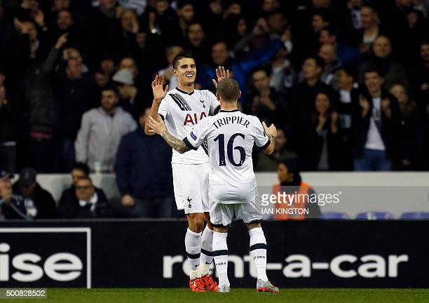 Tottenham Hotspur's Argentinian midfielder Erik Lamela celebrates with Tottenham Hotspur's English defender Kieran Trippier after scoring his second...