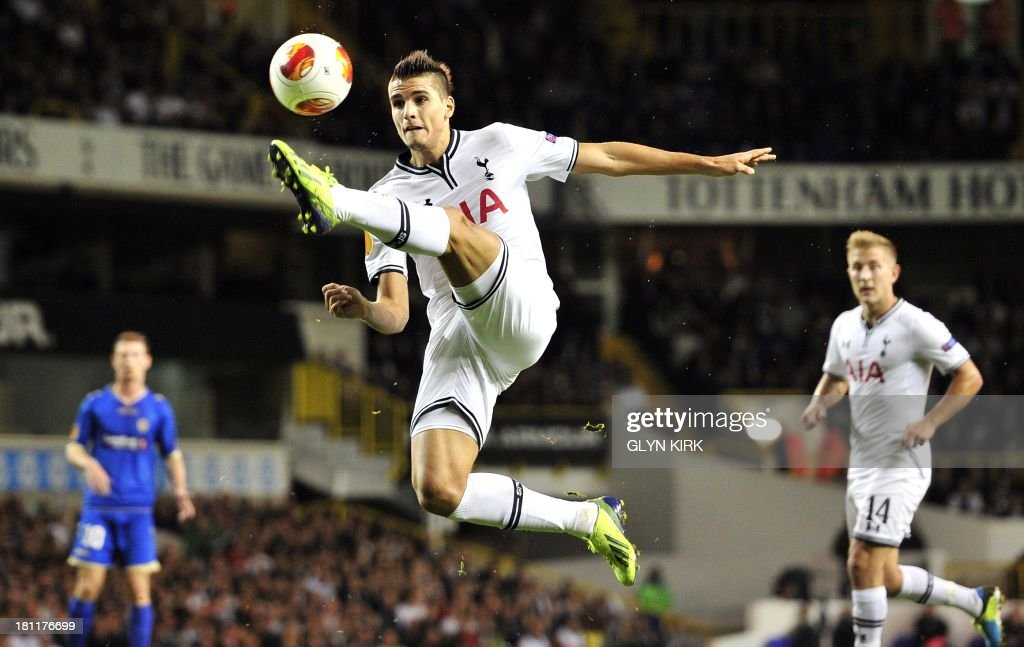 Tottenham Hotspur's Argentinian midfielder Erik Lamela controls the ball during the UEFA Europa League group K football match between Tottenham Hotspur and Tromso at White Hart Lane, London, on September 19, 2013.