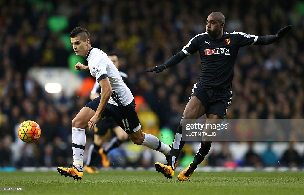 Tottenham Hotspur's Argentinian midfielder Erik Lamela (L) runs during the English Premier League football match between Tottenham Hotspur and Watford at White Hart Lane in north London on February 6, 2016. / AFP / JUSTIN TALLIS / RESTRICTED TO EDITORIAL USE. No use with unauthorized audio, video, data, fixture lists, club/league logos or 'live' services. Online in-match use limited to 75 images, no video emulation. No use in betting, games or single club/league/player publications. /