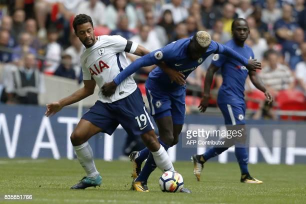Tottenham Hotspur's Belgian midfielder Mousa Dembele vies with Chelsea's French midfielder Tiemoue Bakayoko during the English Premier League...