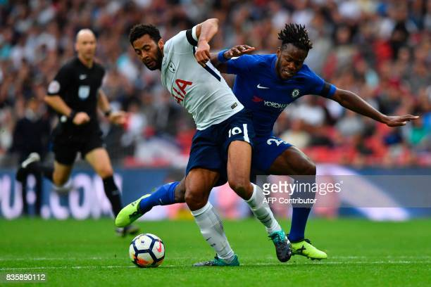 Tottenham Hotspur's Belgian midfielder Mousa Dembele vies with Chelsea's Belgian striker Michy Batshuayi during the English Premier League football...
