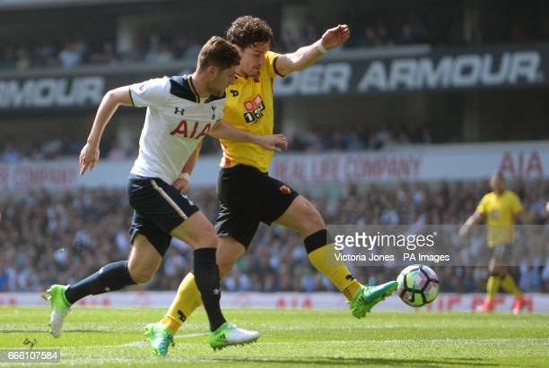 Tottenham Hotspur's Ben Davies and Watford's Daryl Janmaat battle for the ball during the Premier League match at White Hart Lane London