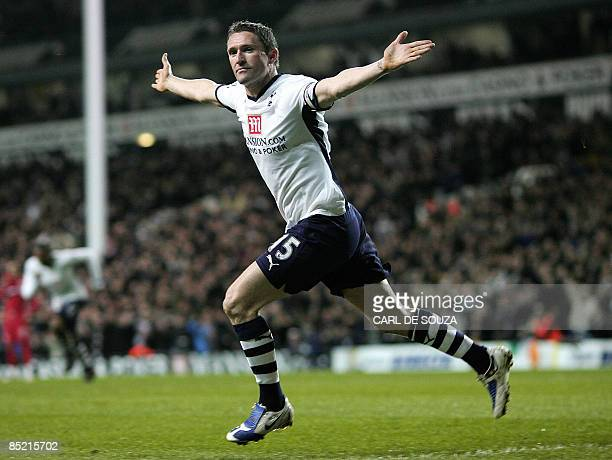 Tottenham Hotspur's Captain Robbie Keane celebrates scoring the first goal during their Premiership match against Middlesbrough at White Hart Lane...