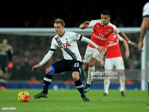 Tottenham Hotspur's Christian Eriksen and Arsenal's Alexis Sanchez battle for the ball