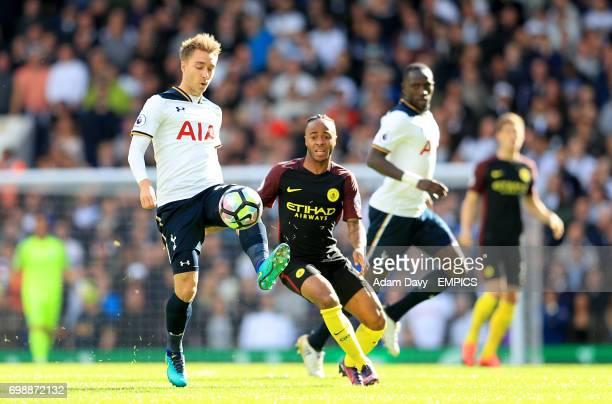 Tottenham Hotspur's Christian Eriksen and Manchester City's Raheem Sterling battle for the ball