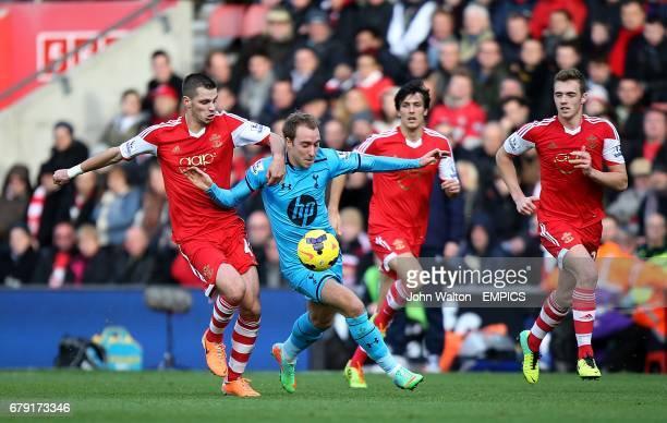 Tottenham Hotspur's Christian Eriksen and Southampton's Morgan Schneiderlin battle for the ball