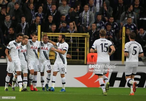 Tottenham Hotspur's Christian Eriksen celebrates scoring the opening goal against RSC Anderlecht