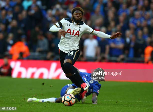 Tottenham Hotspur's Clinton N'Jie gets tackled by Chelsea's Victor Moses during The Emirates FA Cup SemiFinal match between Chelsea and Tottenham...