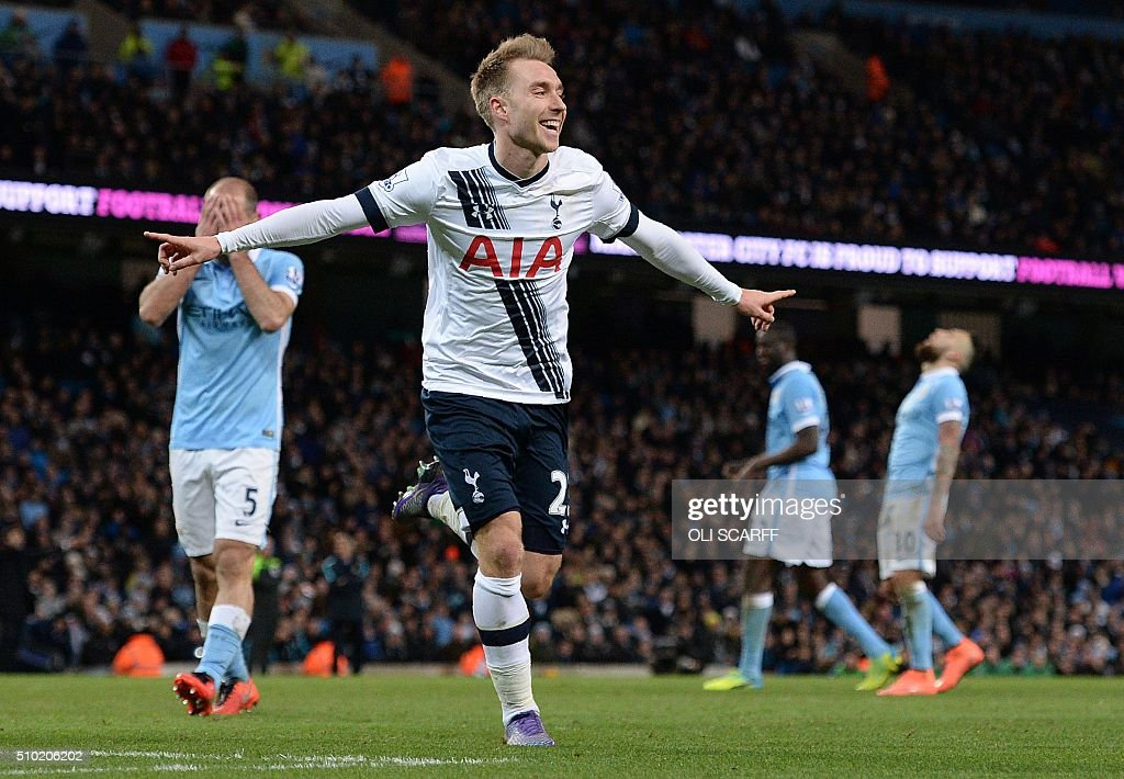 Tottenham Hotspur's Danish midfielder Christian Eriksen celebrates scoring his team's second goal during the English Premier League football match between Manchester City and Tottenham Hotspur at the Etihad Stadium in Manchester, north west England, on February 14, 2016. / AFP / OLI SCARFF / RESTRICTED TO EDITORIAL USE. No use with unauthorized audio, video, data, fixture lists, club/league logos or 'live' services. Online in-match use limited to 75 images, no video emulation. No use in betting, games or single club/league/player publications. /
