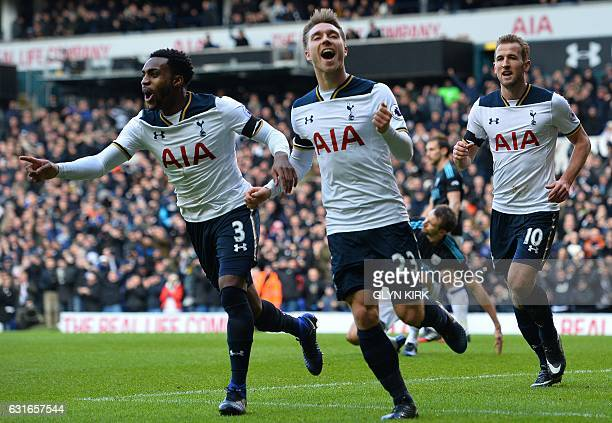 Tottenham Hotspur's Danish midfielder Christian Eriksen celebrates with Tottenham Hotspur's English defender Danny Rose and Tottenham Hotspur's...