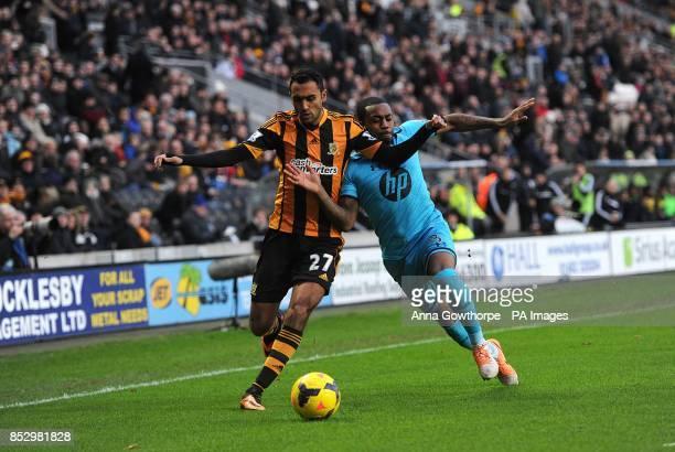 Tottenham Hotspur's Danny Rose and Hull City's Ahmed Elmohamady battle for the ball