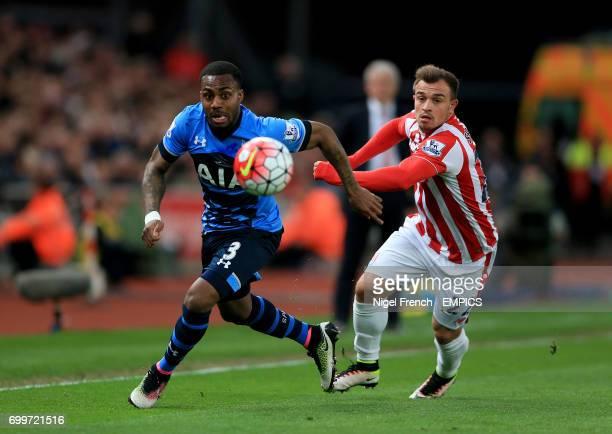 Tottenham Hotspur's Danny Rose and Stoke City's Xherdan Shaqiri battle for the ball