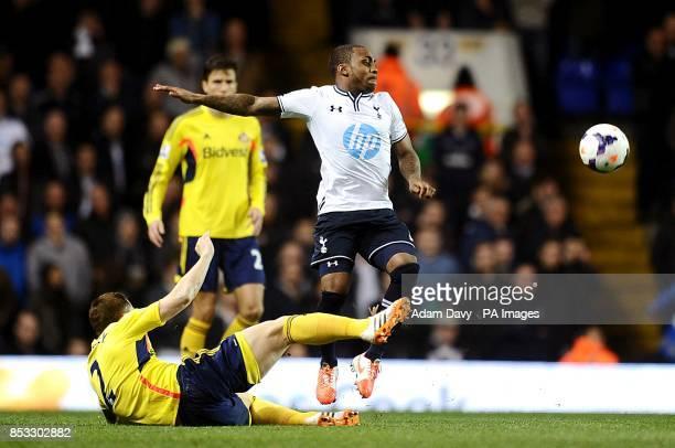Tottenham Hotspur's Danny Rose and Sunderland's Phil Bardsley battle for the ball