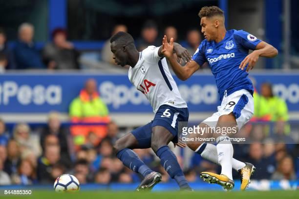 Tottenham Hotspur's Davinson Sanchez and Everton's Dominic CalvertLewin battle for the ball during the Premier League match at Goodison Park Liverpool