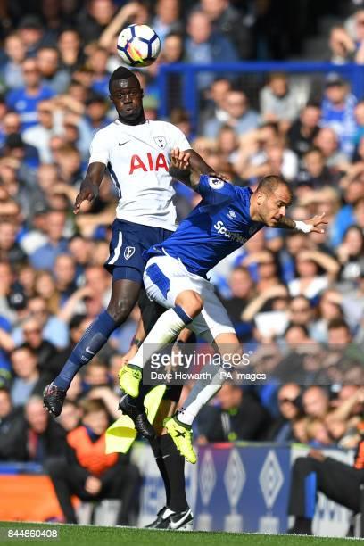 Tottenham Hotspur's Davinson Sanchez and Everton's Sandro Ramirez battle for the ball during the Premier League match at Goodison Park Liverpool
