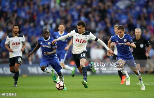 Tottenham Hotspur's Dele Alli and Chelsea's N'Golo Kante battle for the ball during the Emirates FA Cup Semi Final match at Wembley Stadium London