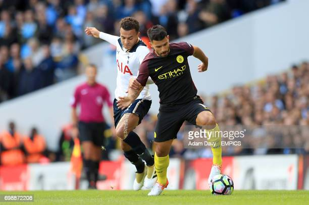 Tottenham Hotspur's Dele Alli and Manchester City's Sergio Aguero battle for the ball