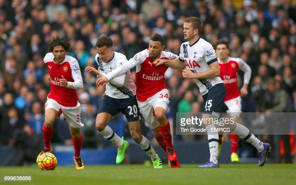 Tottenham Hotspur's Dele Alli Arsenal's Francis Coquelin and Tottenham Hotspur's Eric Dier battle for the ball
