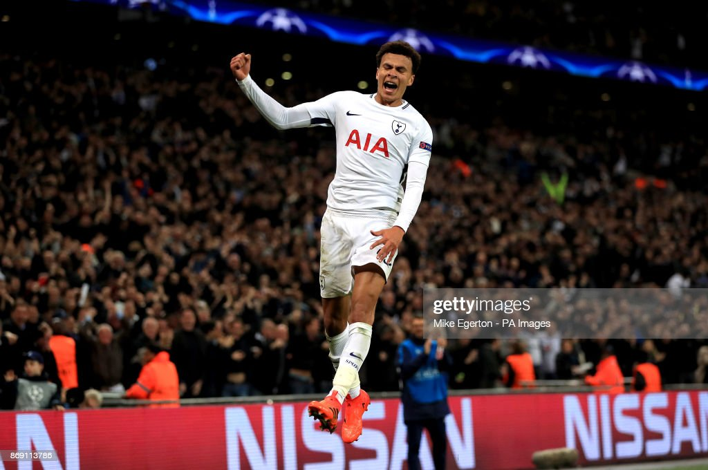Tottenham Hotspur's Dele Alli celebrates scoring his side's second goal of the game during the UEFA Champions League, Group H match at Wembley Stadium, London.