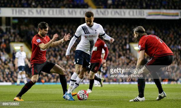 Tottenham Hotspur's Dele Alli in action with West Bromwich Albion's Claudio Jacob and Jonas Olsson