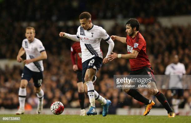 Tottenham Hotspur's Dele Alli in action with West Bromwich Albion's Claudio Yacob