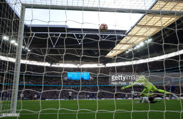 Tottenham Hotspur's Dele Alli scores his side's second goal of the game during the Emirates FA Cup Semi Final match at Wembley Stadium London