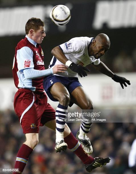 Tottenham Hotspur's Didier Zokora and Burnley's Chris McCann battle for the ball