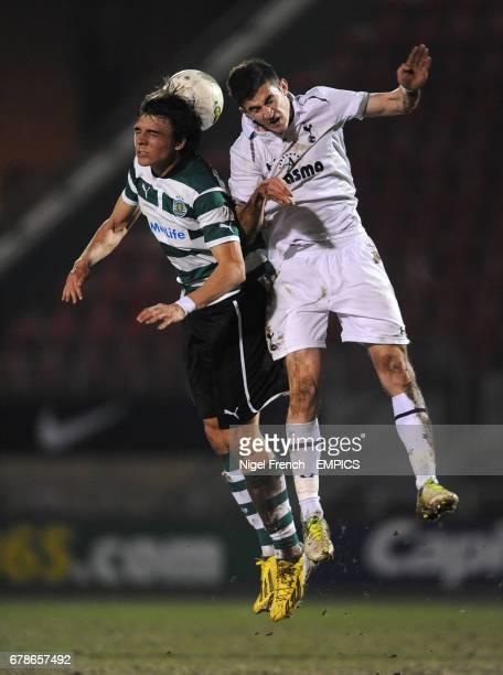 Tottenham Hotspur's Dominic Ball and Sporting Lisbon's Joao Palhinha battle for the ball