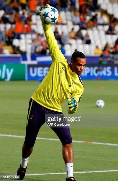 Tottenham Hotspur's Dutch goalkeeper Michel Vorm warmsup ahead of the UEFA Champions League football match between Apoel FC and Tottenham Hotspur at...