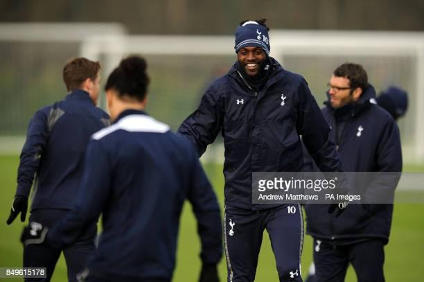 Tottenham Hotspur's Emmanuel Adebayor during a training session at Enfield training ground London