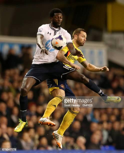 Tottenham Hotspur's Emmanuel Adebayor in action with Sunderland's Phil Bardsley