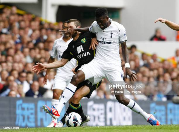 Tottenham Hotspur's Emmanuel Adebayor vies for the ball with Norwich City's Jonny Howson during the Barclays Premier League match at White Hart Lane...