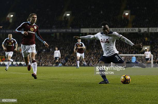 Tottenham Hotspur's English defender Danny Rose scores his team's second goal during the English Premier League football match between Tottenham...