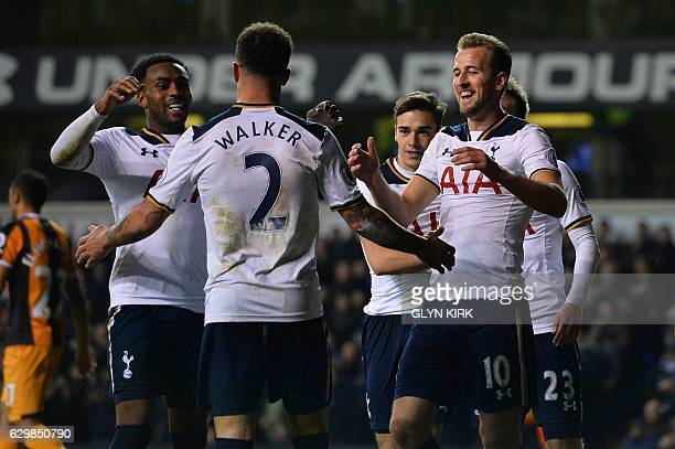 Tottenham Hotspur's English defender Danny Rose Tottenham Hotspur's English defender Kyle Walker and Tottenham Hotspur's English striker Harry Kane...