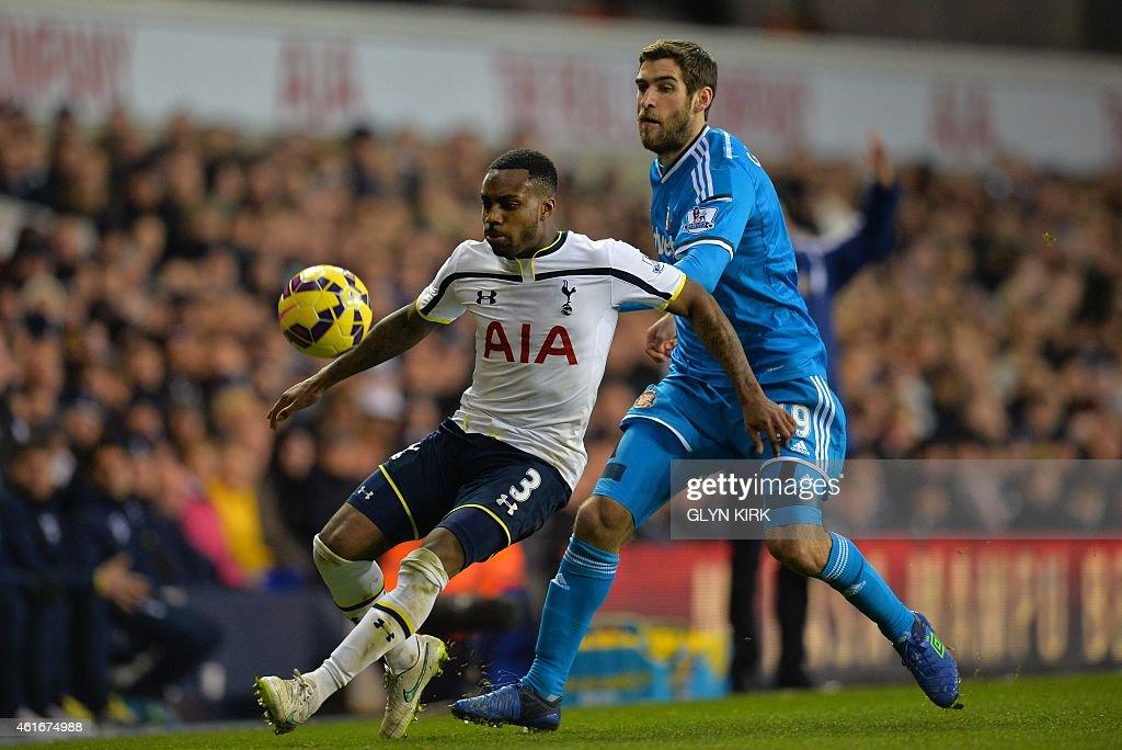 Tottenham Hotspur's English defender Danny Rose vies with Sunderland's English striker Danny Graham during the English Premier League football match...