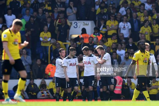 Tottenham Hotspur's English defender Eric Dier celebrates scoring his team's second goal during the English Premier League football match between...