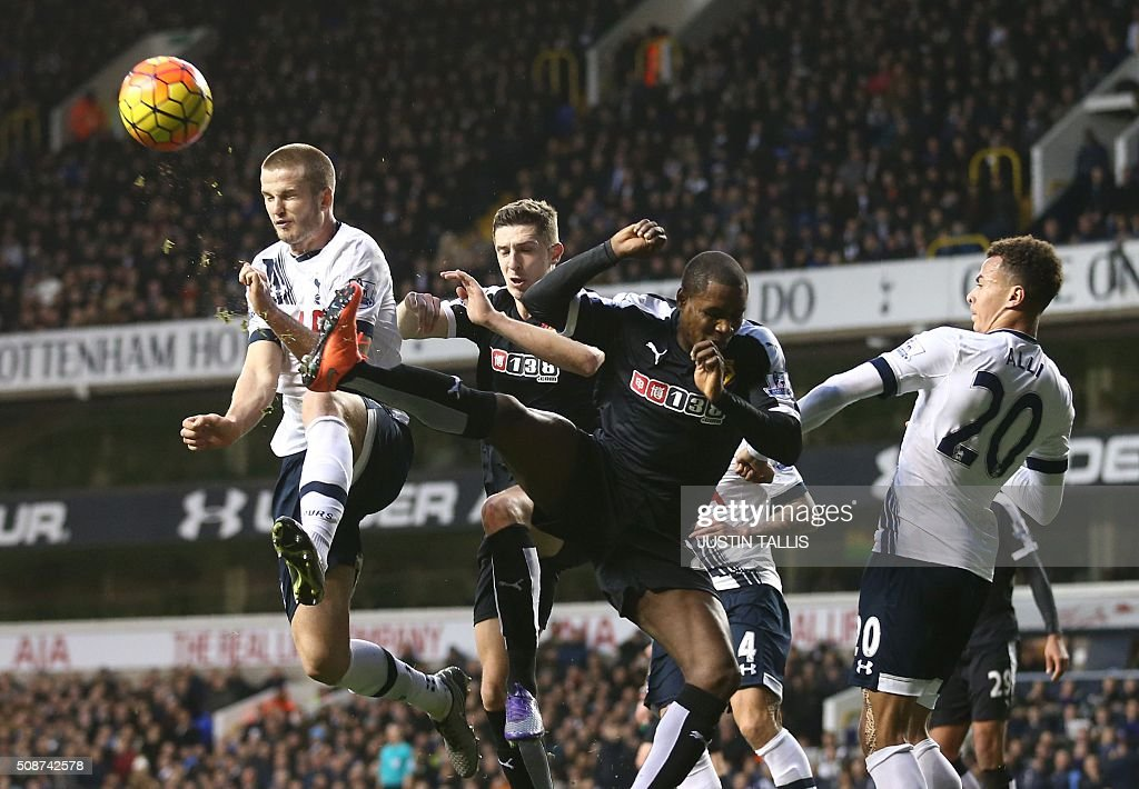 Tottenham Hotspur's English defender Eric Dier (L) heads the ball during the English Premier League football match between Tottenham Hotspur and Watford at White Hart Lane in north London on February 6, 2016. / AFP / JUSTIN TALLIS / RESTRICTED TO EDITORIAL USE. No use with unauthorized audio, video, data, fixture lists, club/league logos or 'live' services. Online in-match use limited to 75 images, no video emulation. No use in betting, games or single club/league/player publications. /
