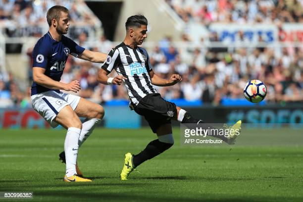 Tottenham Hotspur's English defender Eric Dier vies with Newcastle United's Spanish striker Ayoze Perez during the English Premier League football...
