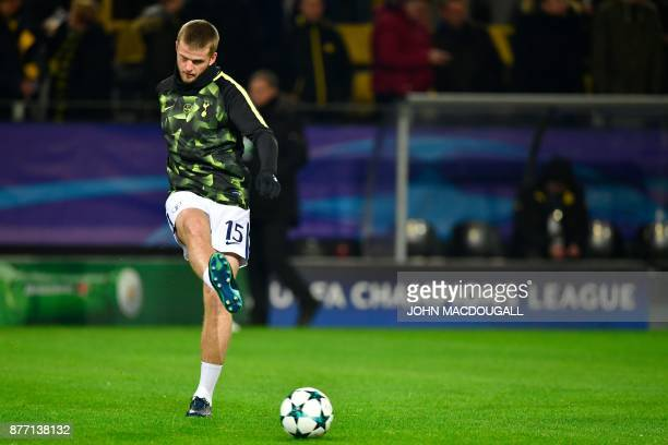 Tottenham Hotspur's English defender Eric Dier warms up on the ball prior to the UEFA Champions League Group H football match BVB Borussia Dortmund v...