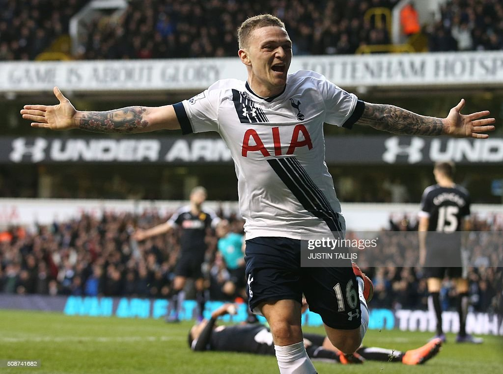 Tottenham Hotspur's English defender Kieran Trippier celebrates after scoring during the English Premier League football match between Tottenham Hotspur and Watford at White Hart Lane in north London on February 6, 2016. / AFP / JUSTIN TALLIS / RESTRICTED TO EDITORIAL USE. No use with unauthorized audio, video, data, fixture lists, club/league logos or 'live' services. Online in-match use limited to 75 images, no video emulation. No use in betting, games or single club/league/player publications. /