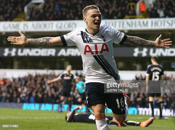 Tottenham Hotspur's English defender Kieran Trippier celebrates after scoring during the English Premier League football match between Tottenham...